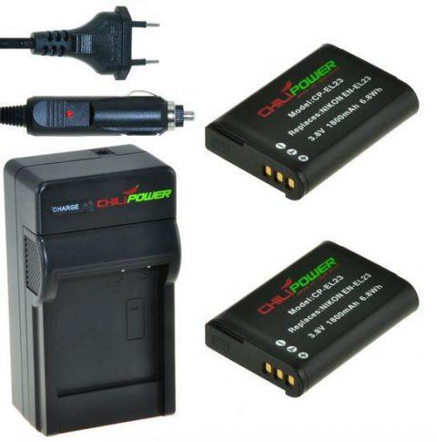 2 camera-accu's EN-EL23 inclusief oplader en autolader - Origineel ChiliPower