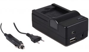 4-in-1 acculader voor Nikon EN-EL19 accu - compact en licht - laden via stopcontact, auto, USB en Powerbank