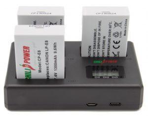 ChiliPower Canon Accu LP-E8 Kit Deluxe - 3 accu's + Triple lader, voor het laden van 3 accu's